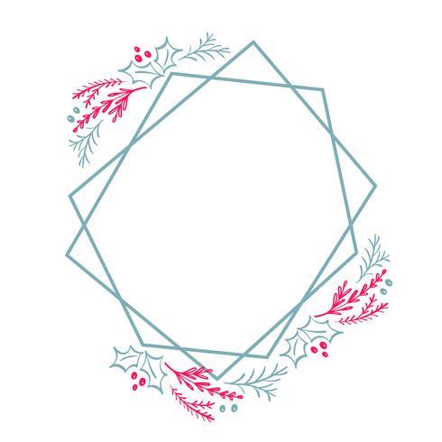 Quadrato stilizzato della struttura della corona della corona di Natale disegnato a mano per la carta con i fiori e le foglie. Illustrazione vettoriale scandinavo con posto per il vostro testo