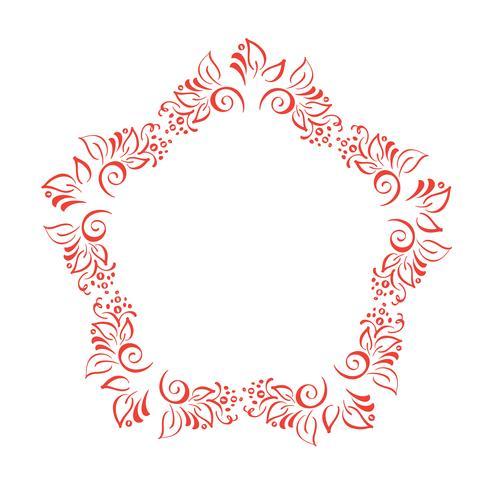 La corona disegnata a mano floreale degli elementi di progettazione di autunno isolata su fondo bianco per retro progettazione fiorisce. Scorrimento di vettore calligrafia e lettering illustrazione