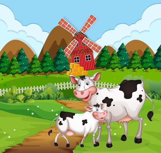 Cow in farmland scene vector