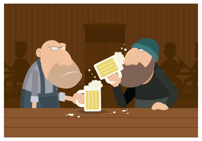 Två killar dricker öl i en bar