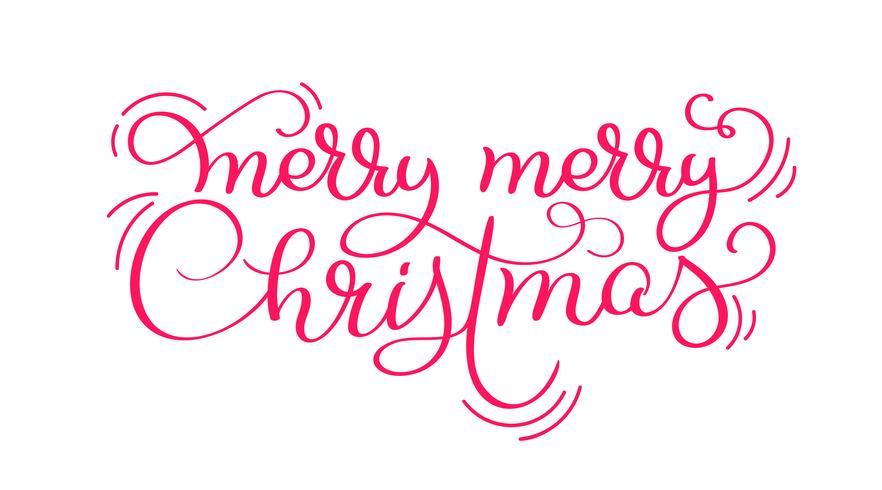 Texto rojo del vector de las letras de la caligrafía del vintage de la Feliz Feliz Navidad aislado en el fondo blanco. Para el diseño de arte de vacaciones, maqueta estilo folleto