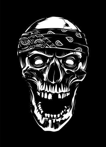 Crânio branco em bandana em fundo preto vetor