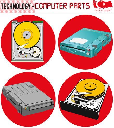 Retro Computers - apparatuur, cpu, CD en diskette, oude computer, eps, vector