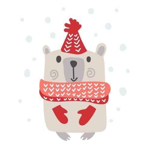 Diseño de estilo escandinavo navideño. Dé el ejemplo exhausto del vector de un oso divertido lindo del invierno en un silenciador, yendo para un paseo. Objetos aislados en el fondo blanco. Concepto para ropa infantil, estampado infantil.