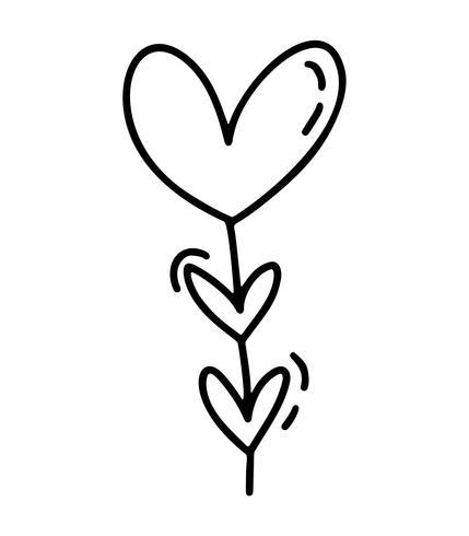Monoline garaland bonito com corações. Vector dia dos namorados mão desenhada ícone. Valentim do elemento do projeto da garatuja do esboço do feriado. decoração de amor para web, casamento e impressão. Ilustração isolada