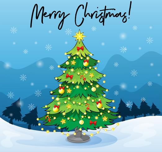 Plantilla de tarjeta de feliz Navidad con el árbol de navidad