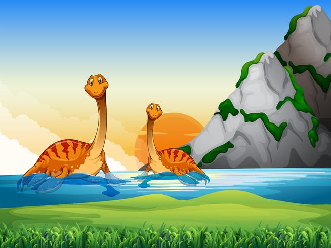 Two dinosaurs in the lake