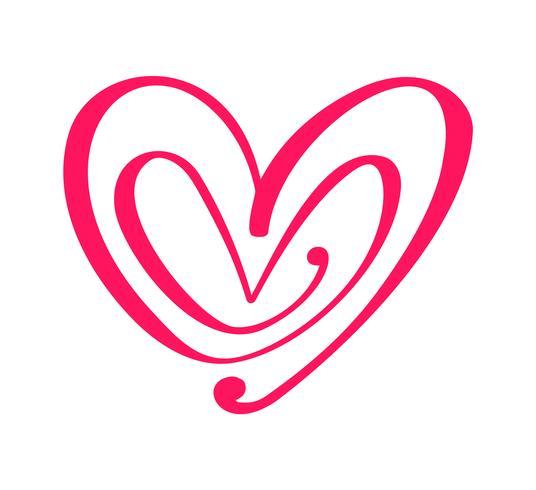 Corazones caligráficos dibujados mano roja del día de tarjetas del día de San Valentín del vector de los pares. Diseño de vacaciones elemento de san valentín Icono de decoración de amor para web, boda e impresión. Ilustración de letras de caligrafía aisla