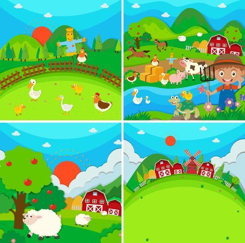 Escena de campo con granjero y animales.
