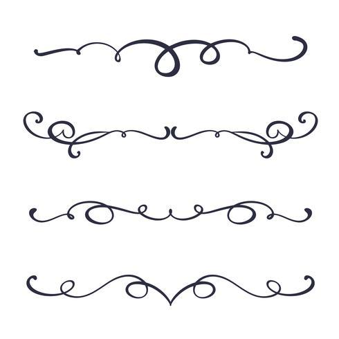 Vektor vintage linje eleganta dividers och separatorer, virvlar och hörn dekorativa ornament. Blomstrålar filigree designelement. Blomstra krulelement för inbjudan eller menysida illustration