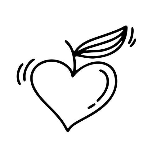 Vector Monoline Alla hjärtans dag Hand Drawn Calligraphic Apple i form av hjärta. Holiday sketch doodle Designelement valentin. Ikon kärleksdekor för webb, bröllop och tryck. Isolerad illustration
