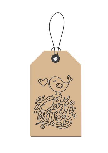Vector de la frase de caligrafía de monoline Te aman en la etiqueta kraft. Ejemplo dibujado mano aislado de las letras del día de tarjetas del día de San Valentín. Tarjeta de la tarjeta del día de San Valentín del diseño del garabato del bosquejo del día