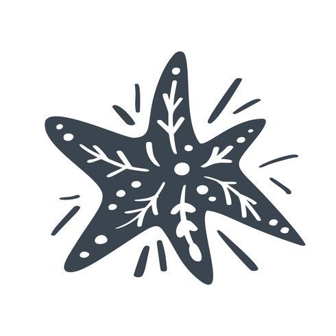 Navidad escandinava vector estrella. Cuadro de handdraw silueta catroon para diseño de tarjetas de felicitación, decoración en almohada, camiseta