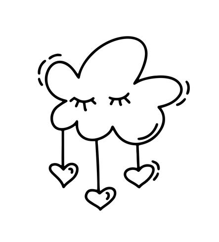 Monoline linda nube con corazones. Día de San Valentín vector icono dibujado a mano. Día de fiesta del bosquejo del doodle del elemento del diseño. Decoración de amor para web, bodas y estampados. Ilustración aislada