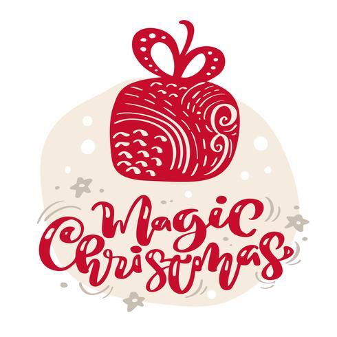 Stella di illustrazione scandinava disegnata a mano. Testo magico dell'iscrizione di vettore di calligrafia di Natale. biglietto di auguri di Natale. Oggetti isolati