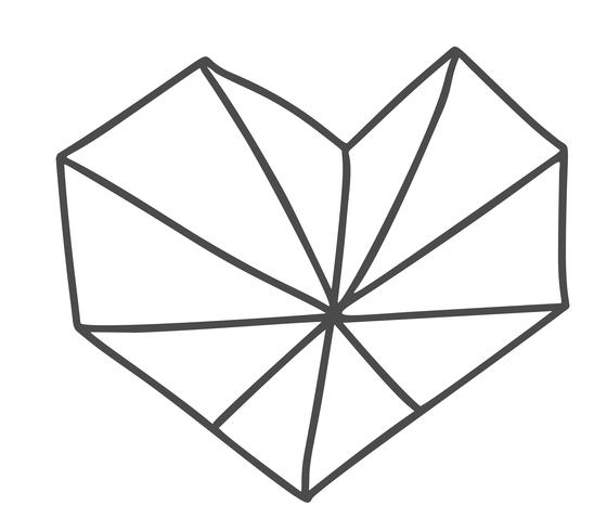 Hand drawn geometric scandinavian Velentines Day heart. Vector Simple contour valentine symbol. Isolated Design element for web, wedding and print