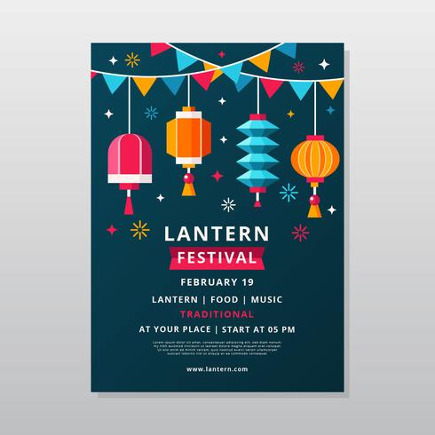 Taiwan Sky Lantern Festival Poster Vector