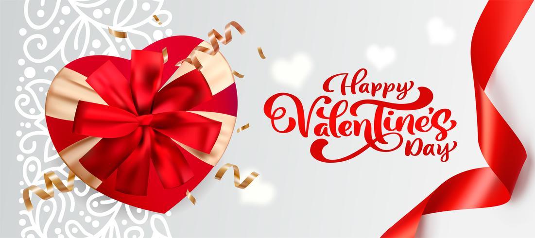 Lycklig Alla hjärtans dag typografi vektor design för gratulationskort och affisch. Valentin vektor text på en röd helgdag bakgrund. Design mall firande illustration