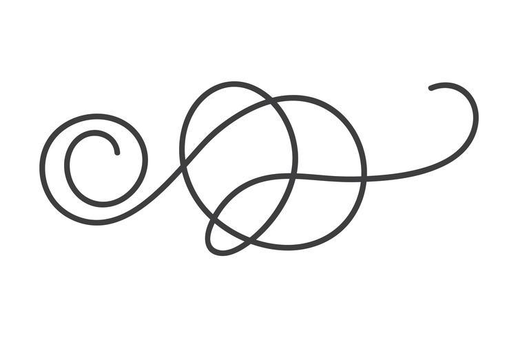Hand gezeichneter Monolinekalligraphie-skandinavischer Volksflourishvektorteiler. Gestaltungselement für Hochzeit und Valentinstag, Geburtstagsgrußkarte