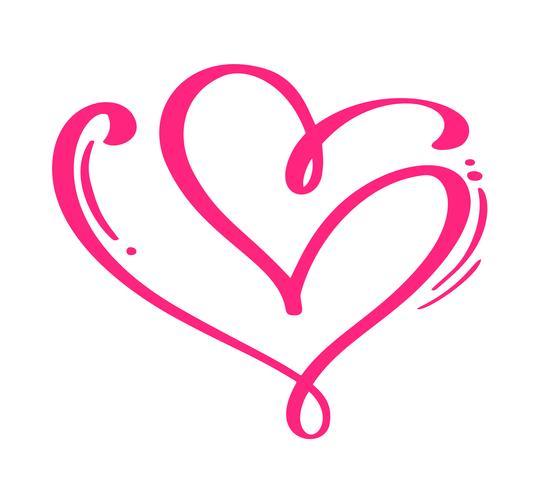 Corazones caligráficos dibujados mano roja del día de tarjetas del día de San Valentín del vector de los pares. Elemento de diseño de vacaciones. Icono de San Valentín amor decorado para web, boda e impresión. Ilustración de letras de caligrafía aislado