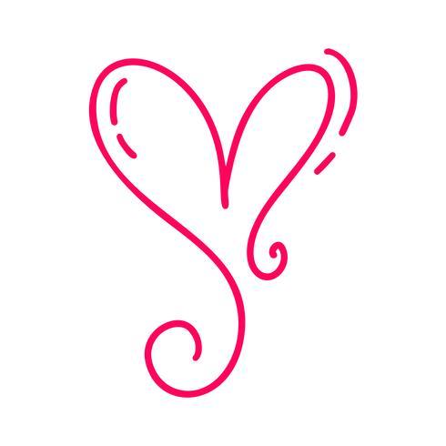 Monoline Red vintage Vector Día de San Valentín dibujado a mano caligráficos dos corazones. Ilustración de letras de caligrafía. Diseño de vacaciones elemento de san valentín Icono de decoración de amor para web, boda e impresión. Aislado