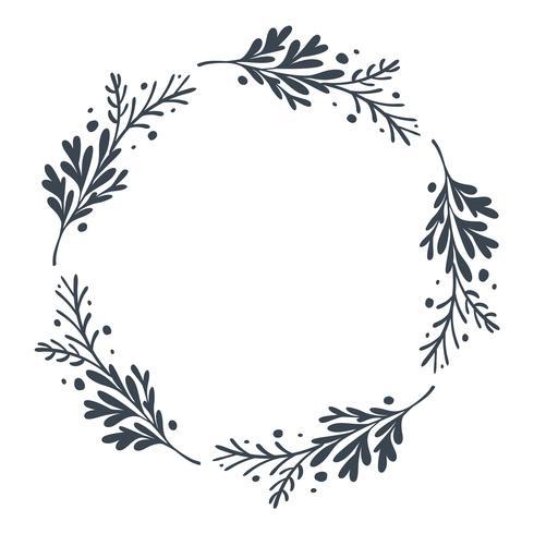 Guirnalda floral del vector dibujado mano escandinavo de la Navidad con el lugar para su texto. Aislado en el fondo blanco para el diseño retro flourish