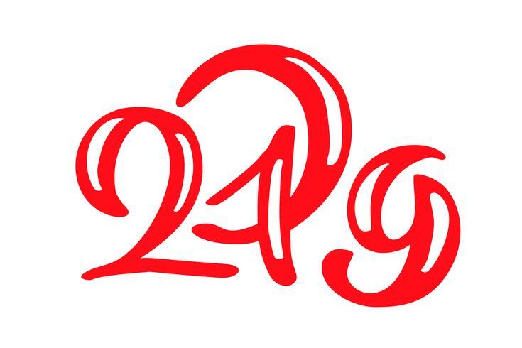 Handwritting-Vektorkalligraphietext 2019 Hand gezeichnete Beschriftungsnummer 2019 des neuen Jahres und Weihnachten Illustration für Grußkarte, Einladung, Feiertagstag