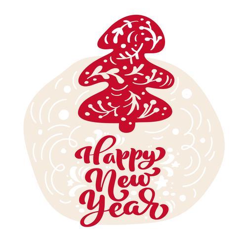 Dibujado a mano árbol de abeto ilustración escandinava. Feliz año nuevo texto de letras de vector de caligrafía. tarjeta de felicitación de Navidad. Objetos aislados