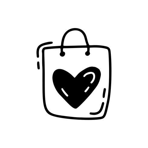 Saco bonito do monoline do vetor com coração. Dia dos namorados mão desenhada ícone. Valentim do elemento do projeto da garatuja do esboço do feriado. decoração de amor para web, casamento e impressão. Ilustração isolada