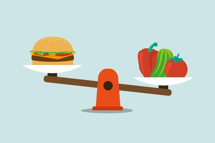 Conceito de dieta equilibrada saudável comer