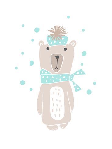Kerst Scandinavische stijl ontwerp. Hand getrokken vectorillustratie van een leuke grappige beer in een uitlaat, gaan voor een wandeling. Geïsoleerde objecten op witte achtergrond. Concept voor kinderkleding, kinderkameropdruk