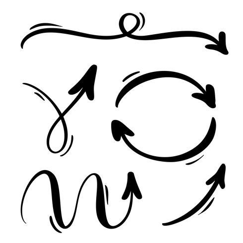 Abstrakte Vektorpfeile eingestellt. Handgemachte Markierungsart des Gekritzels. Lokalisierte Skizzenillustration für Anmerkung, Unternehmensplan, grafische Darstellung