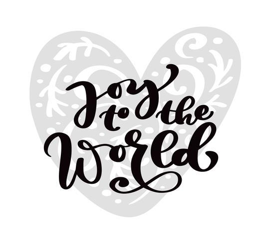 Alegría al mundo texto de letras de caligrafía de Navidad. Tarjeta de felicitación escandinava de Navidad con el corazón dibujado mano del ejemplo del vector. Objetos aislados vector