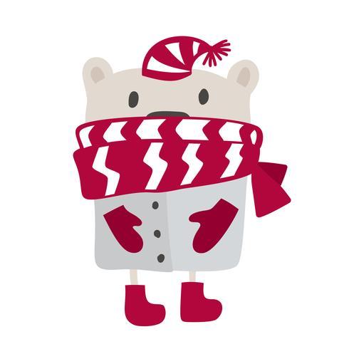 Julskandinavisk stildesign. Handritad vektor illustration av en söt rolig vinterbjörn i en ljuddämpare, går en promenad. Isolerade föremål på vit bakgrund. Koncept för barnkläder, barnkammarutskrift