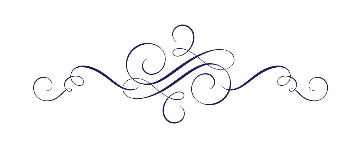 Calligraphic Vector Hand Drawn Flourish Design Element. Swirl light style decor for sectificate, web, wedding and print. Isolated on white background Calligraphy and lettering illustration