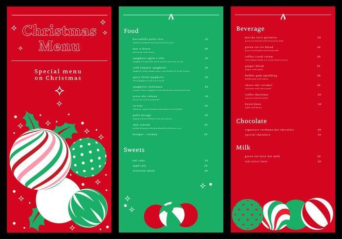 christmas dinner menu card