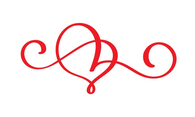 red lovers heart flourish. Handmade vector calligraphy. Decor for greeting card for Valentines Day, mug, photo overlays, t-shirt print, flyer, poster design isolated on white background