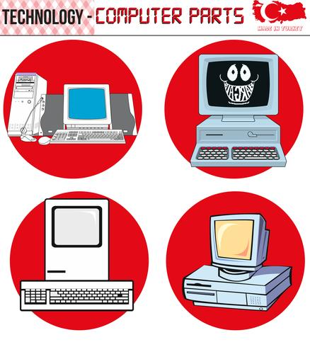 Retro Computers - equipment, CPU, CD and floppy disk, old