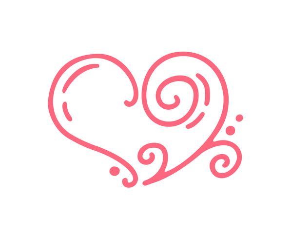 monoline Red Vector Valentines Day Hand getrokken kalligrafische Vintage hart. Vakantie ontwerp element valentine. Icoon liefdes decor voor web, bruiloft en print. Geïsoleerde kalligrafie illustratie