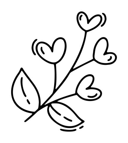 Monoline cute branch with hearts. Vector Valentines Day Hand Drawn icon. Holiday sketch doodle Design element valentine. love decor for web, wedding and print. Isolated illustration
