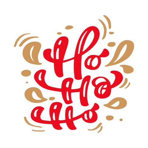 Ho ho ho vermelho Natal vintage caligrafia lettering vector texto com inverno desenho escandinavo floreio decoração. Para design de arte, estilo de brochura de maquete, capa de ideia de bandeira, folheto de impressão de livreto, cartaz