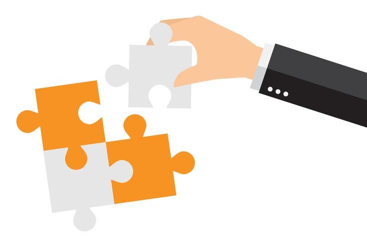 Gente di affari che risolve insieme il puzzle surdimensionato
