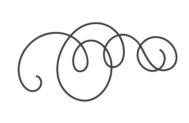 Diviseur de vecteur s'épanouir de folklore scandinave Monoline calligraphy. Élément symbole du design pour mariage et Saint Valentin, carte de voeux d'anniversaire