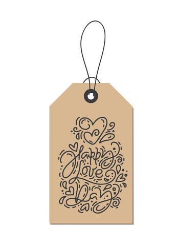 Vector monoline caligrafia frase feliz dia do amor na marca kraft. Isolado dia dos namorados mão desenhada lettering ilustração. Cartão do Valentim do projeto da garatuja do esboço do feriado do coração. decoração de amor para web, casamento e impressão