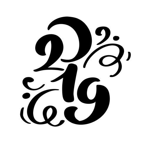 Handwritting testo di calligrafia di vettore di flourish 2019. Nuovo anno e Natale disegnati a mano numero 2019 di iscrizione Illustrazione per la cartolina d'auguri, invito, etichetta di feste, isolata su fondo bianco