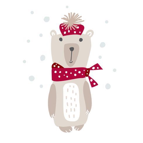 Entregue a ilustração desenhada do vetor de um urso engraçado bonito em um silencioso. Design de estilo escandinavo de Natal. Objetos isolados no fundo branco. Conceito para vestuário de crianças, berçário de impressão