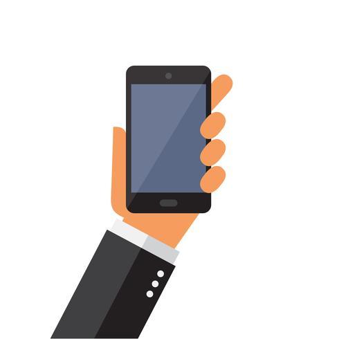 Mão, segurando, telefone móvel