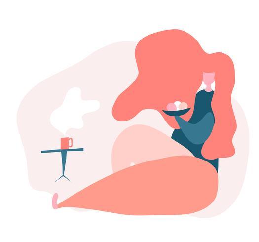 mujer se sienta en casa y bebe café con bollos. Ilustración de vector plano laico aislado sobre fondo blanco