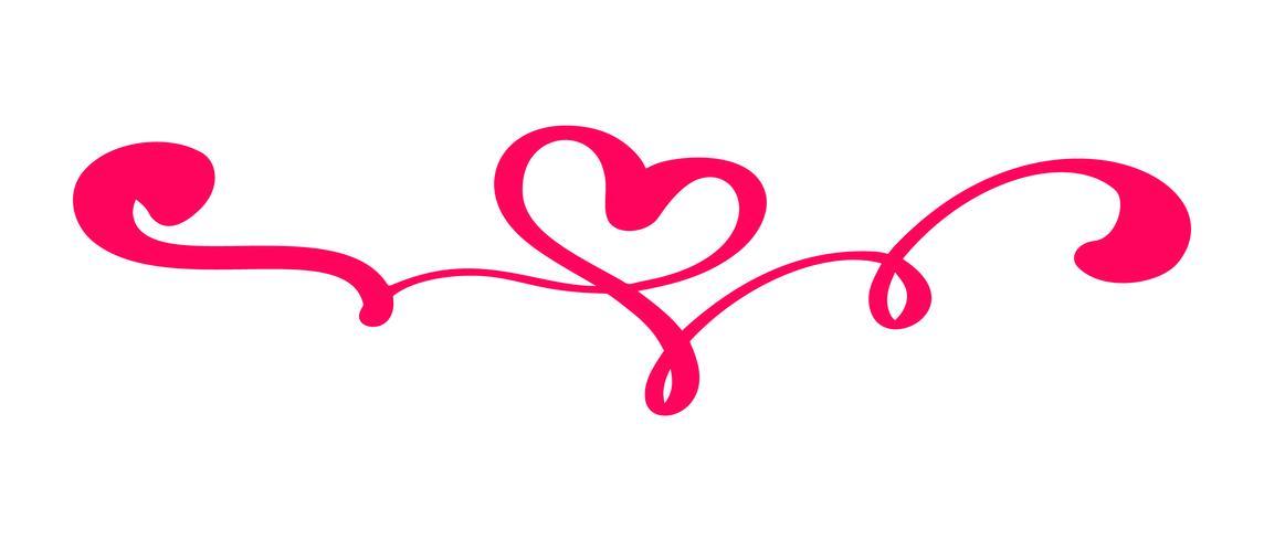 Röd vintage vektor Alla hjärtans dag Handdragen kalligrafisk hjärta. Kalligrafi bokstäver illustration. Holiday Design element valentin. Ikon kärleksdekor för webb, bröllop och tryck. Isolerat
