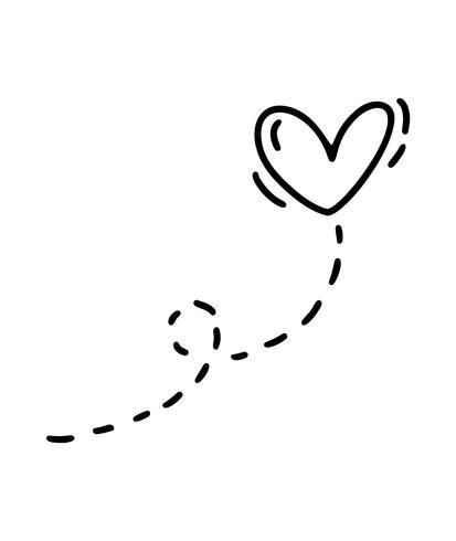 Vector monoline corazón con camino. Día de San Valentín icono dibujado a mano. Vacaciones bosquejo doodle diseño planta elemento san valentín. Decoración de amor para web, bodas y estampados. Ilustración aislada